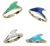 Enamel Wave Pendant Adjustable Ring Assorted